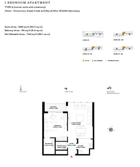 1 Bedroom Apartment Type A Level 2 9 744sqft