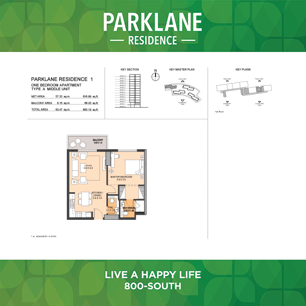 1 Bedroom Apartment Type A Parklane Residence