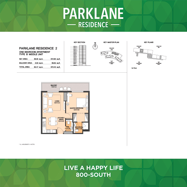 1 Bedroom Apartment Type B Middle Unit Parklane Residence
