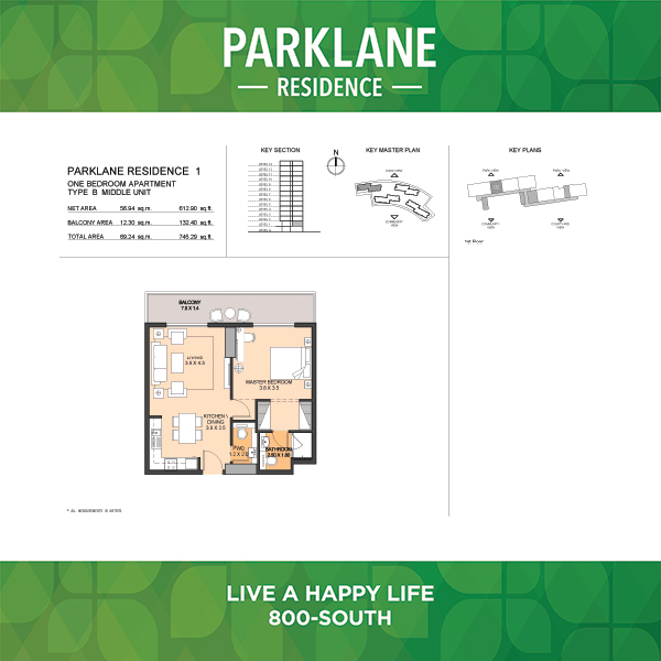 1 Bedroom Apartment Type B Parklane Residence