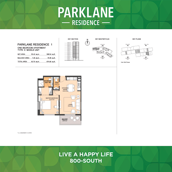 1 Bedroom Apartment Type D Parklane Residence