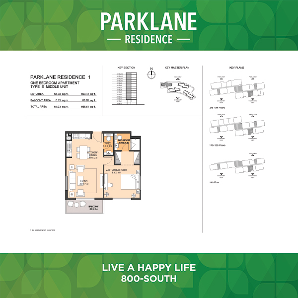 1 Bedroom Apartment Type E Parklane Residence