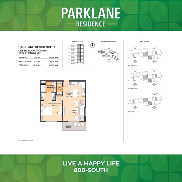 1 Bedroom Apartment Type F Parklane Residence