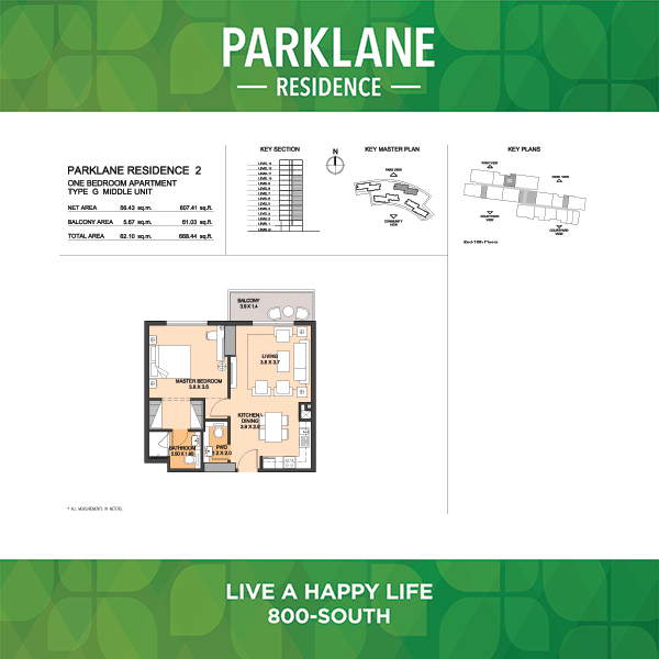1 Bedroom Apartment Type G Middle Unit Parklane Residence