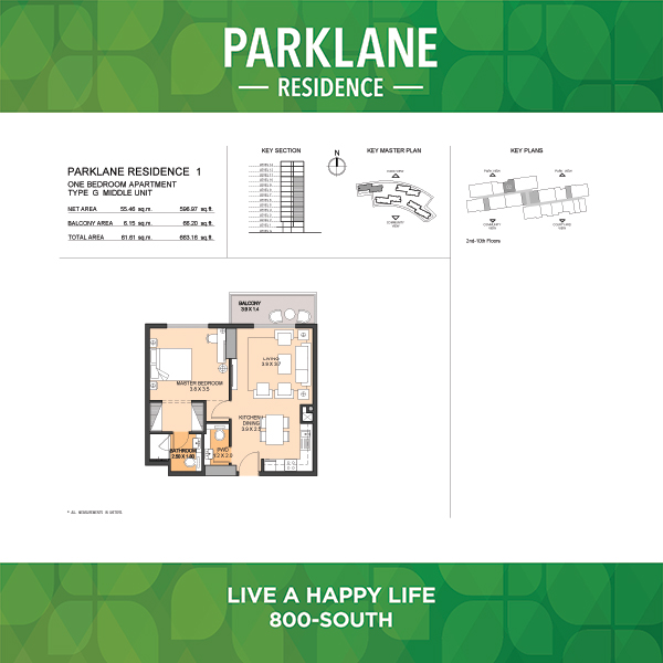 1 Bedroom Apartment Type G Parklane Residence