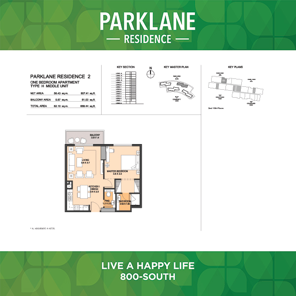1 Bedroom Apartment Type H Middle Unit Parklane Residence