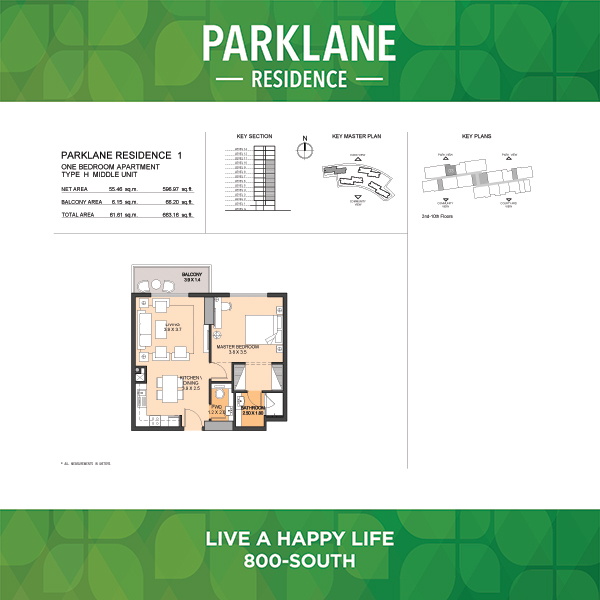1 Bedroom Apartment Type H Parklane Residence