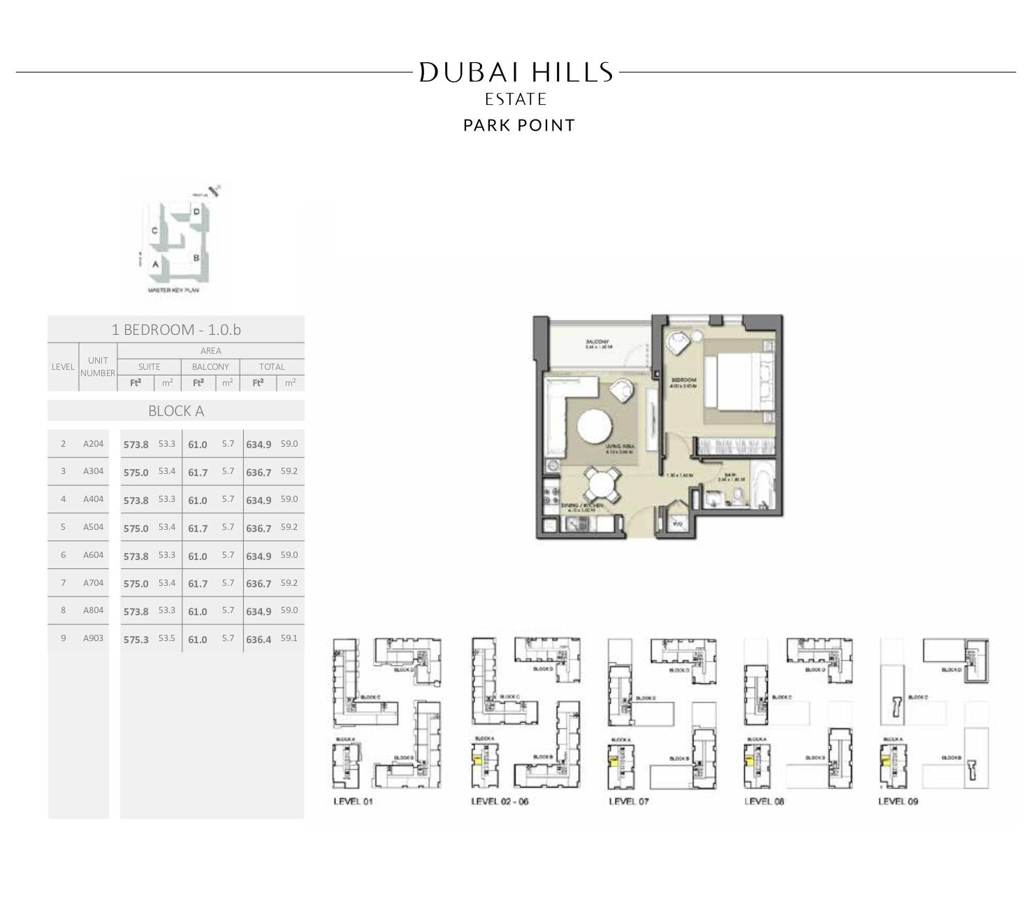 1 Bedroom Block A 636 4sqft