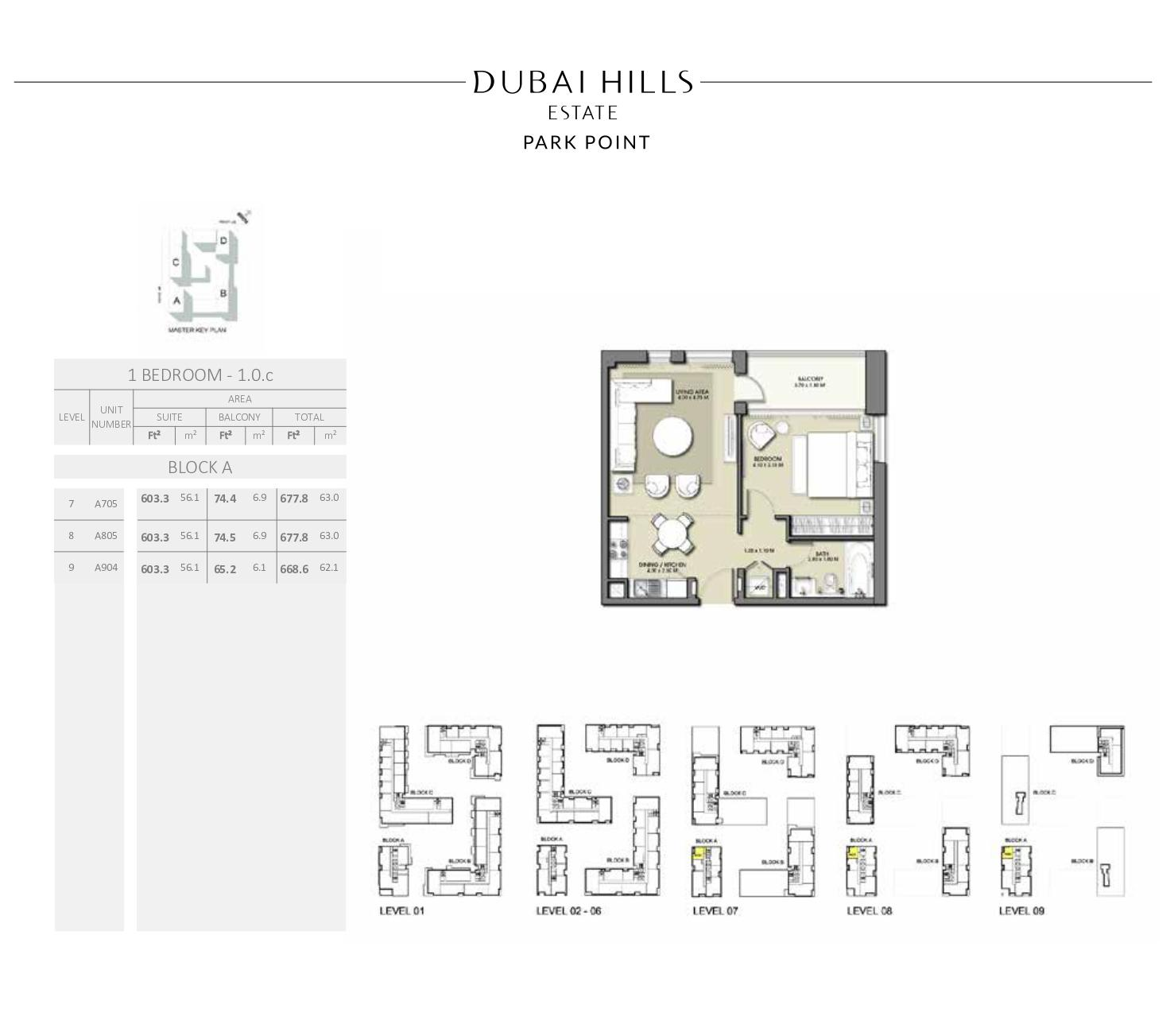 1 Bedroom Block A 668 6sqft