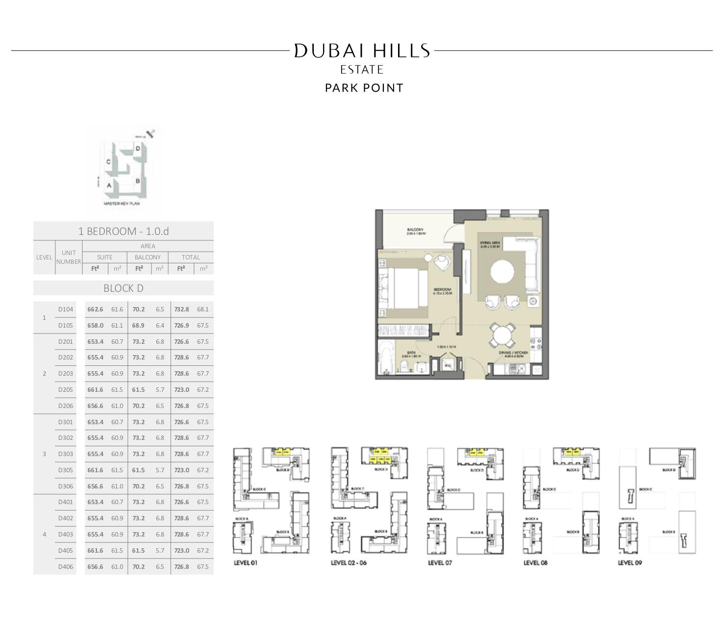 1 Bedroom Block D 726 8sqft