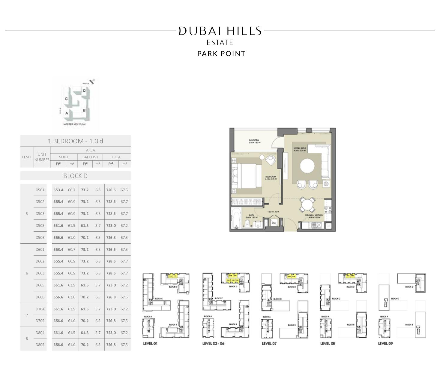 1 Bedroom Block D 726 9sqft