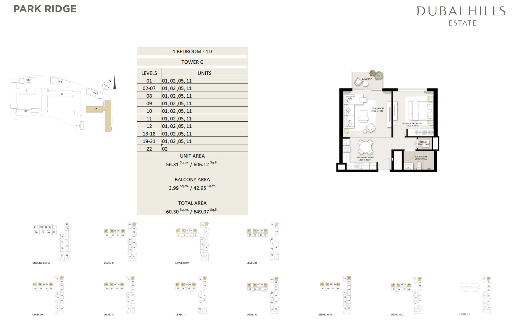 1 Bedroom Tower C 649 07sqft