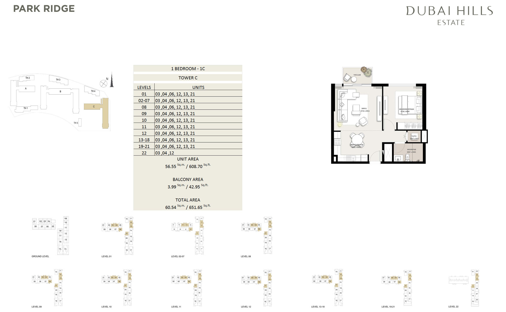 1 Bedroom Tower C 651 65sqft