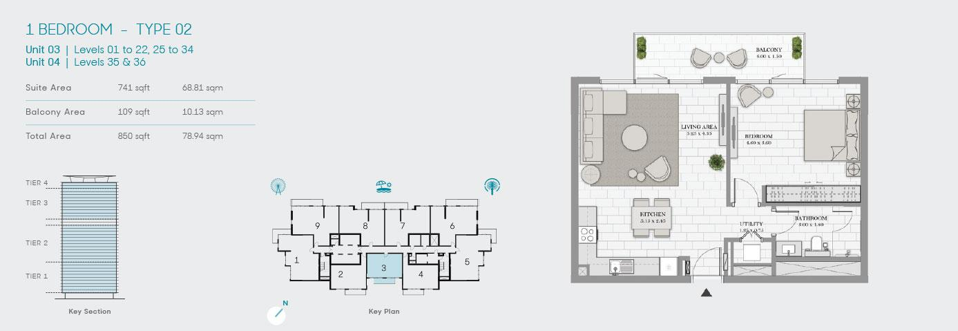 1 Bedroom Type 02 Unit 3 850sqft