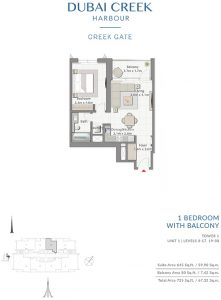 1-Bedroom-With-Balcony-Tower-1-Unit-1-Levels-3-17,19-30-725-SqFt