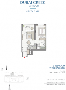 1-Bedroom-With-Balcony-Tower-2-Unit-1-Levels-3-17,19-22-725-SqFt