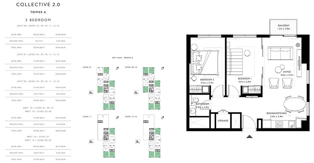 2 Bedroom Unit 01,05,06,10,14,15 Tower A