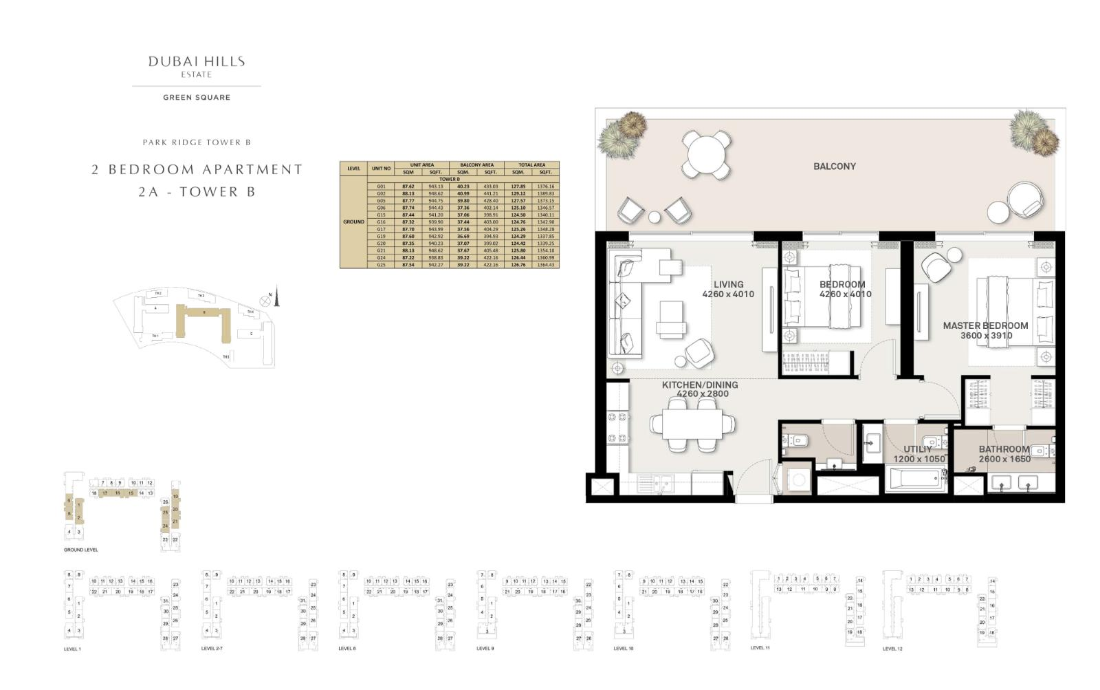 2 Bedroom Apartment Tower B 1364.43sqft