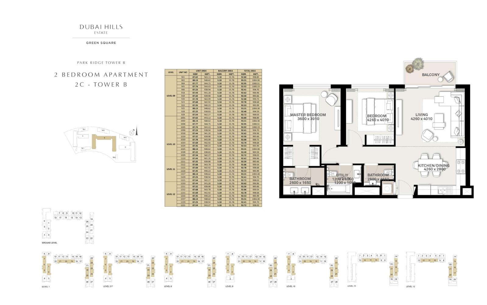 2 Bedroom Apartment Tower B 994.70sqft
