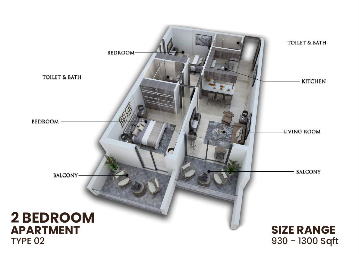 2 Bedroom Apartment Type 02 930 1300sqft