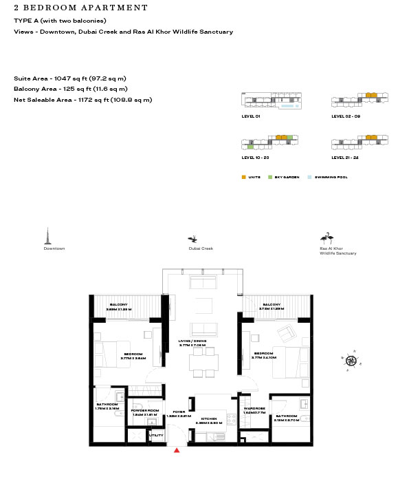 2 Bedroom Apartment Type A Level 10 20 1172sqft