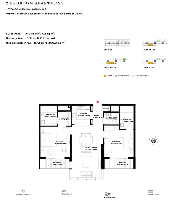 2 Bedroom Apartment Type A Level 21 24 1172sqft