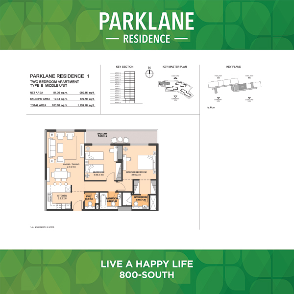 2 Bedroom Apartment Type B Parklane Residence
