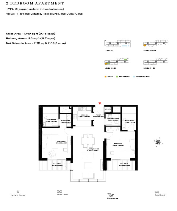 2 Bedroom Apartment Type C Level 10 20 1175sqft