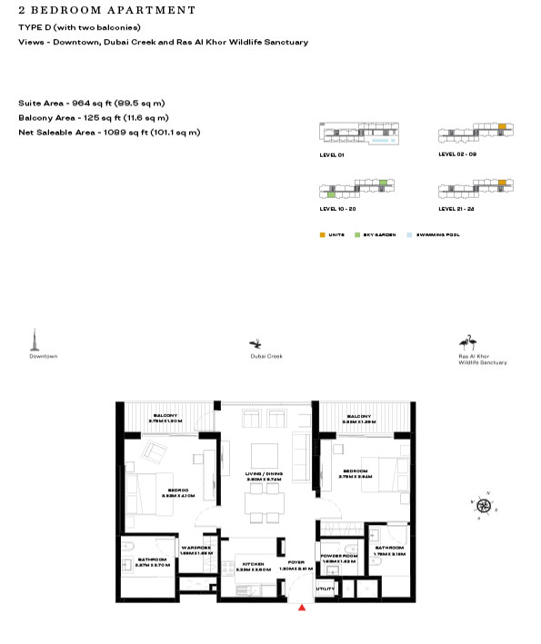 2 Bedroom Apartment Type D Level 10 20 1099sqft