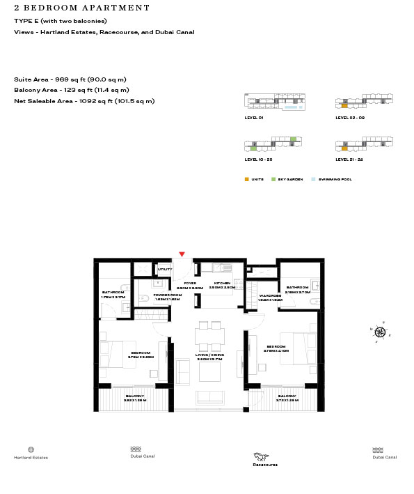 2 Bedroom Apartment Type E Level 10 20 1092sqft