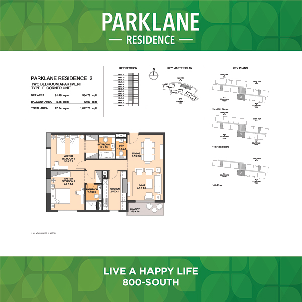 2 Bedroom Apartment Type F Corner Unit Parklane Residence