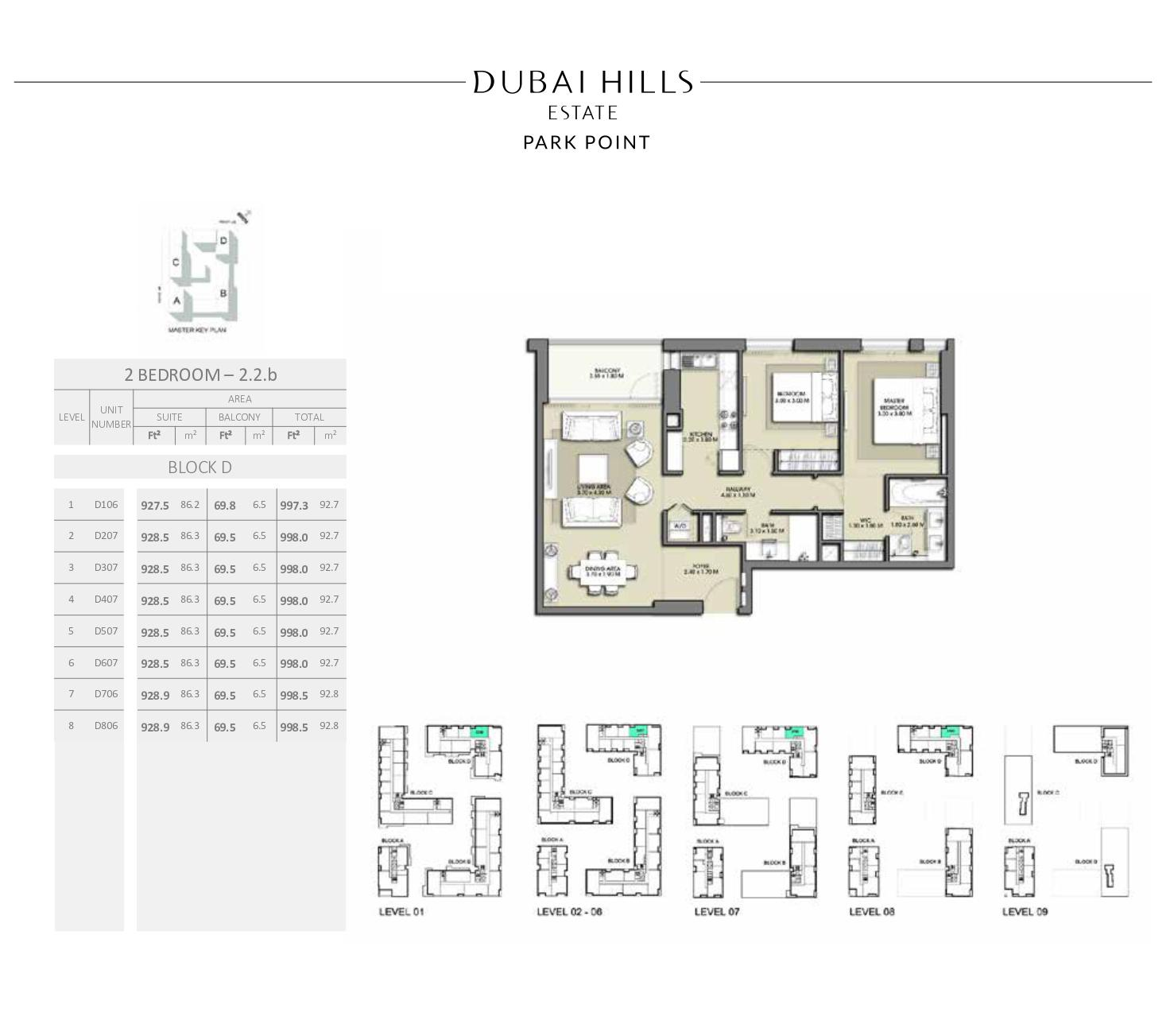 2 Bedroom Block D 997 3sqft
