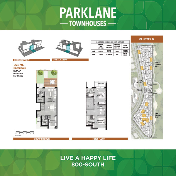 2 Bedroom D2bml Parklane Townhouses