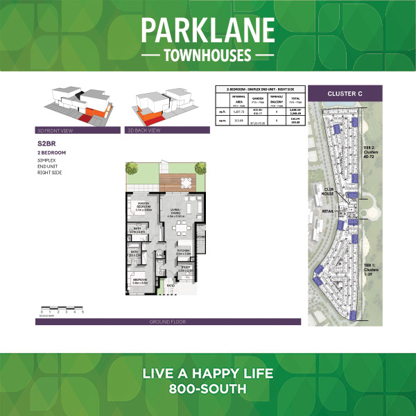 2 Bedroom S2b Parklane Townhouses