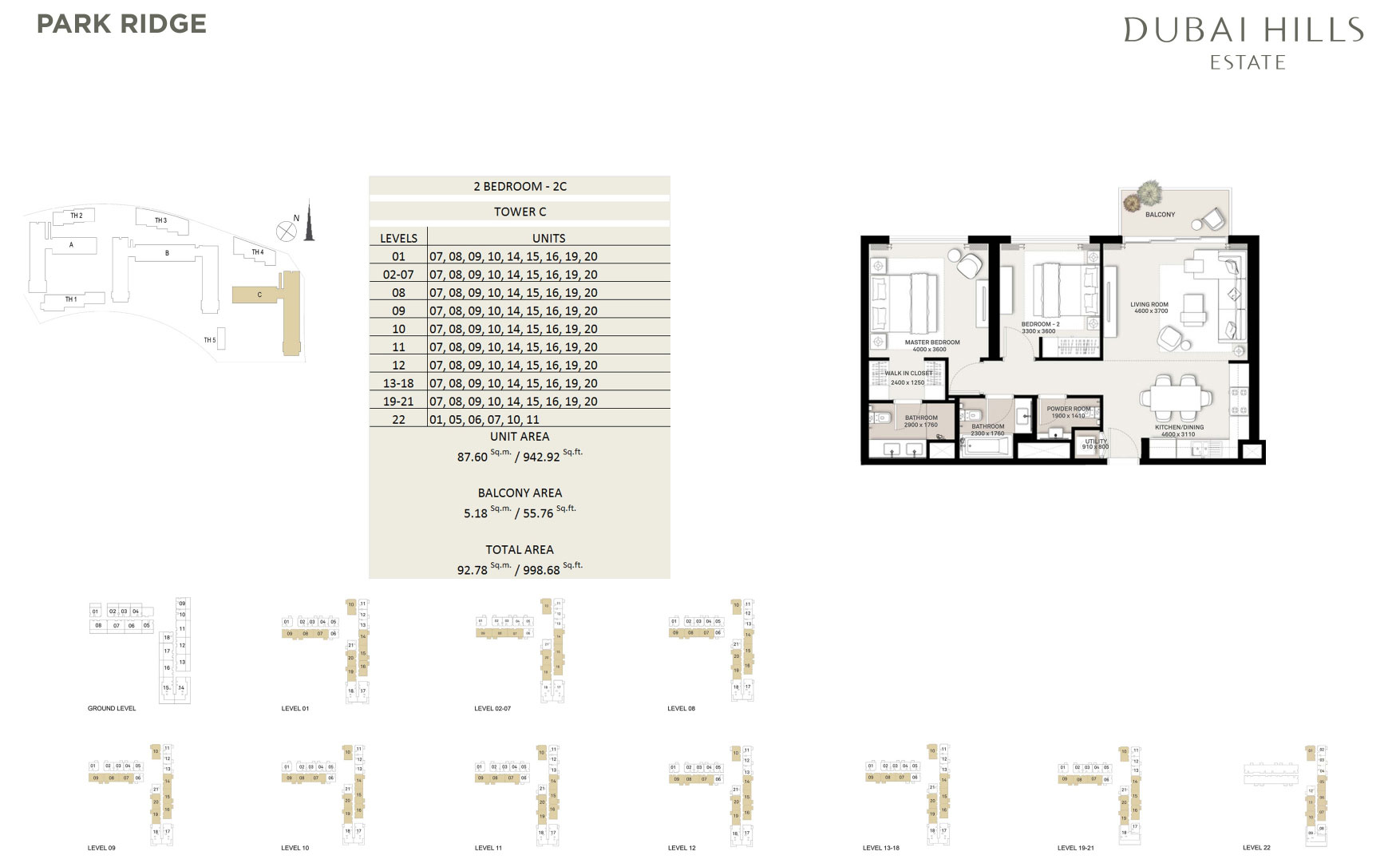 2 Bedroom Tower C 998 68sqft