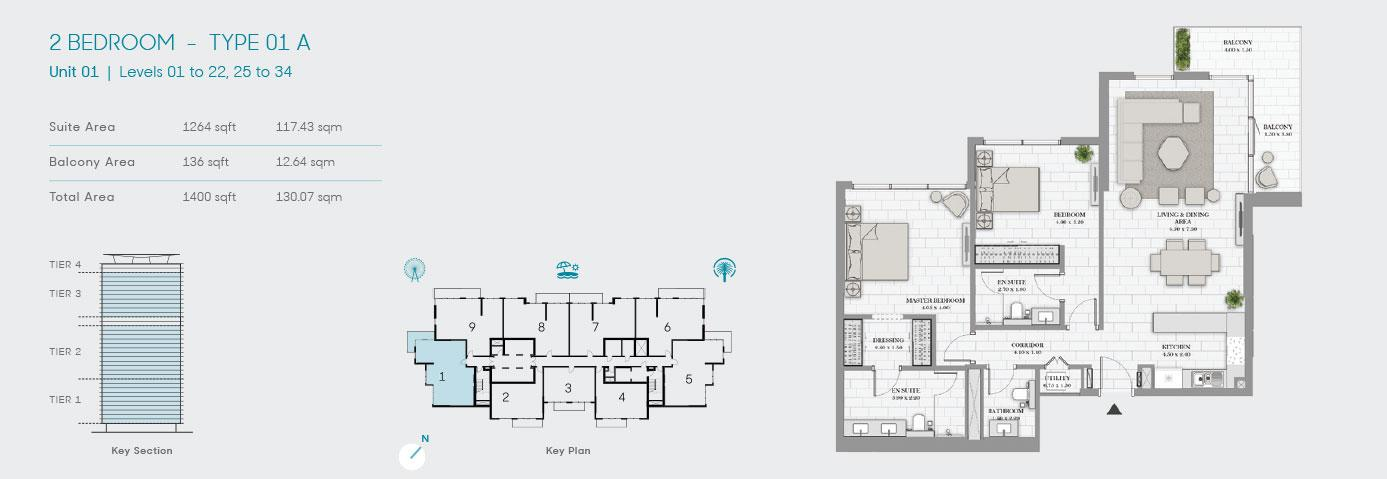 2 Bedroom Type 01 A Unit 1 1400sqft