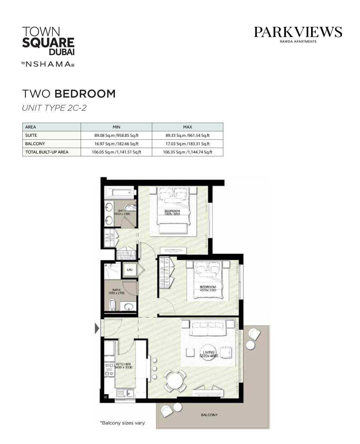 2 Bedroom Unit Type 2c 2 1144.74sqft
