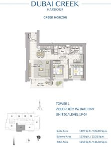 2-Bedroom-W-Balcony-Unit-01-Level-19-34-1253-SqFt