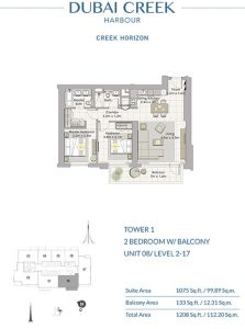 2-Bedroom-W-Balcony-Unit-08-Level-2-17-1208-SqFt