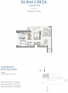 2-Bedroom-With-Balcony-Tower-2-Unit-2-Levels-3-17,19-22-1111-SqFt
