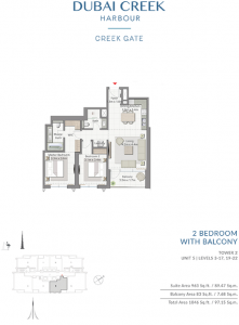 2-Bedroom-With-Balcony-Tower-2-Unit-4-Levels-3-17,19-22-1046-SqFt