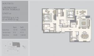 2-Bedrooms-Unit-01-Level-4-5,7-15,17-25,27-34,1462-28SqFt
