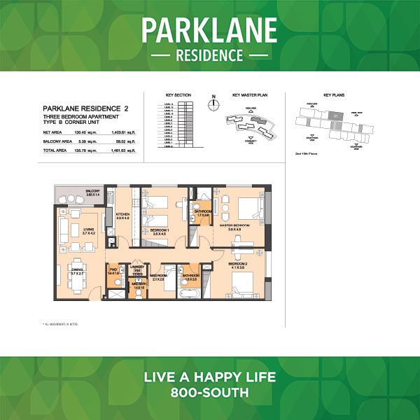 3 Bedroom Apartment Type B Corner Unit Parklane Residence