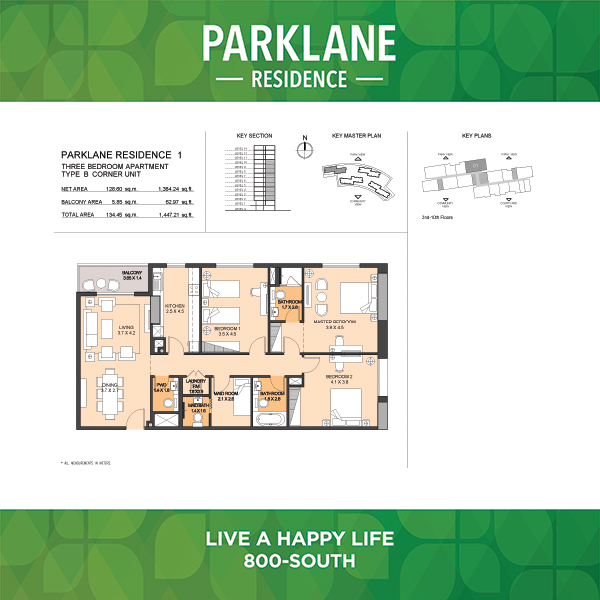 3 Bedroom Apartment Type B Parklane Residence
