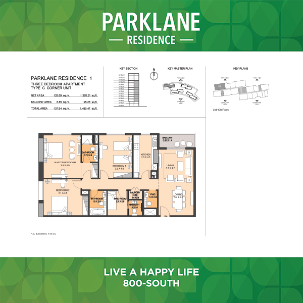 3 Bedroom Apartment Type C Parklane Residence