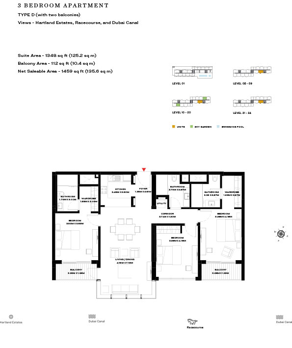 3 Bedroom Apartment Type D Level 10 20 1459sqft