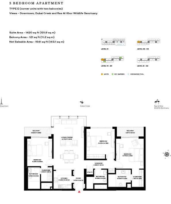 3 Bedroom Apartment Type E Level 10 20 1541sqft