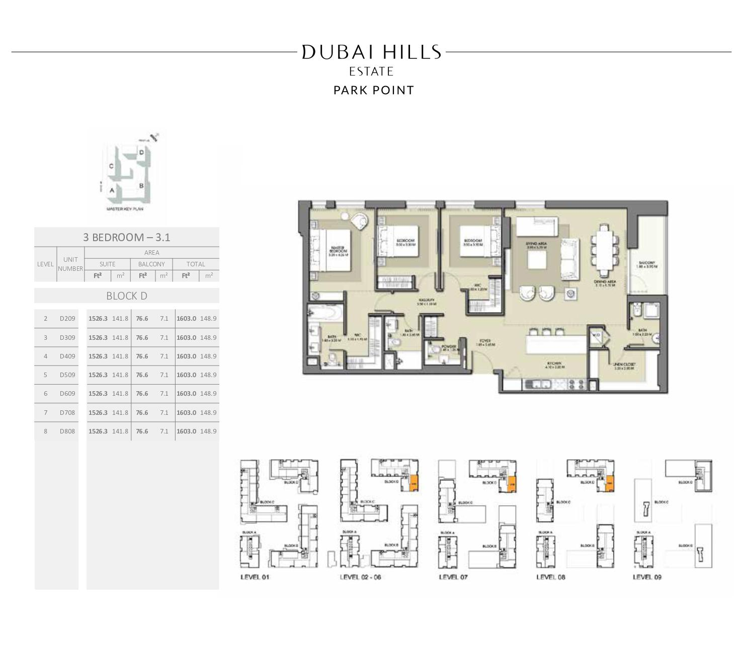 3 Bedroom Block D 1603 0sqft