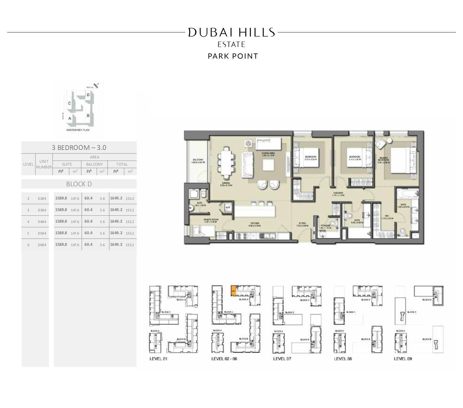 3 Bedroom Block D 1649 2sqft
