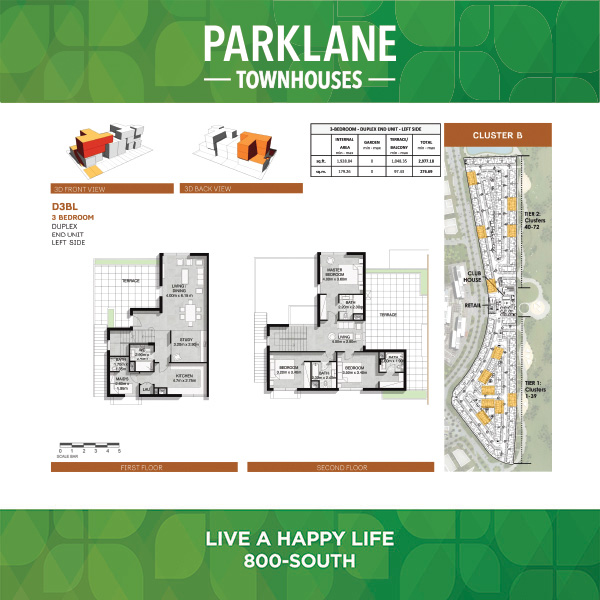 3 Bedroom D3bl Parklane Townhouses